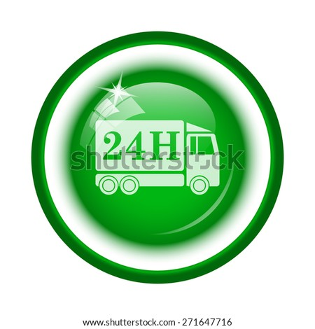 24H delivery truck icon. Internet button on white background.