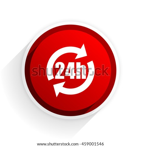 24h flat icon with shadow on white background, red modern design web element