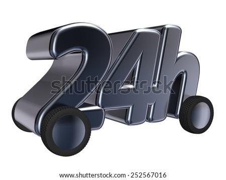 24h on wheels - 3d illustration - stock photo