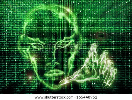 hacker green illustration - stock photo