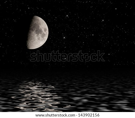 Half moon with stars reflected in water surface. - stock photo