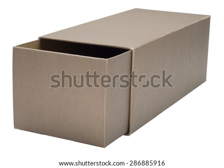 Half-open retractable cardboard box isolated on white. No shadow. - stock photo