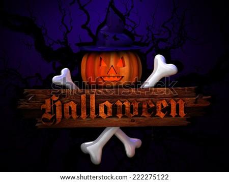 halloween background 3D - stock photo