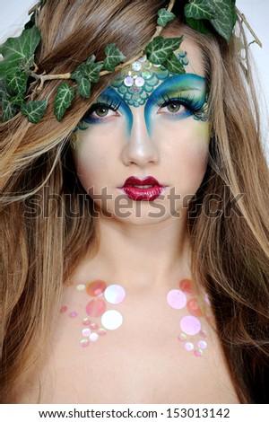 halloween beautiful creative fashion make up stock photo