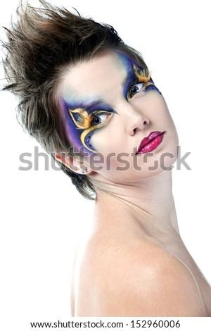 Halloween. Beautiful woman face with Creative Fashion Art make up and eyelashes - stock photo
