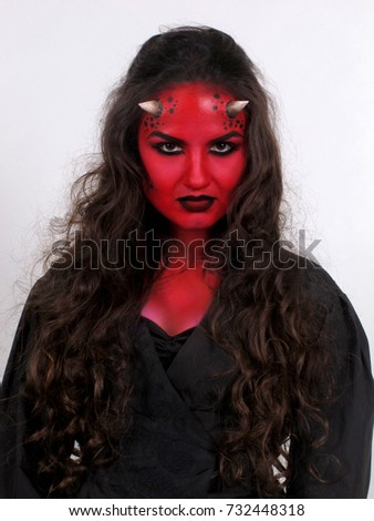 Halloween costume. Portrait of young woman with devilu0027s horns. Red skin demon  sc 1 st  Shutterstock & Halloween Costume Portrait Young Woman Devils Stock Photo (Royalty ...