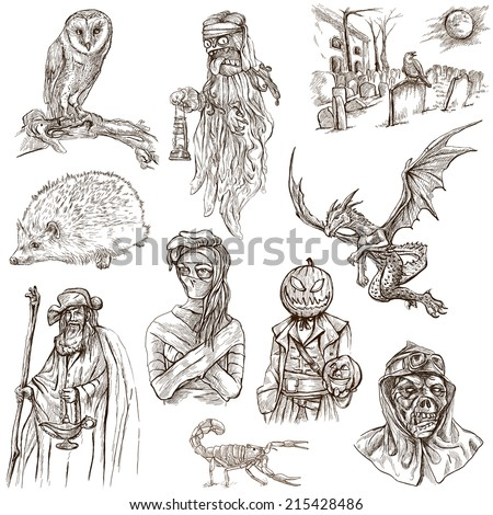 Halloween, Monsters, Magic (and Fairy Tales) - Collection of an hand drawn illustrations. Description: Full sized hand drawn illustrations drawing on white. - stock photo