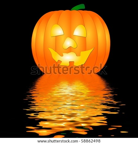 Halloween Pumpkin in water - stock photo