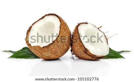 halves of coconuts isolated on white  background