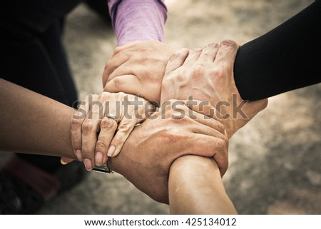 4 hand Assemble Corporate Meeting /Teamwork - stock photo