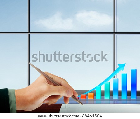 hand business graph - stock photo