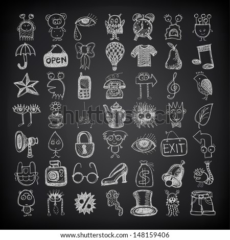 49 hand drawing doodle icon set on black background, raster version - stock photo