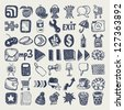 49 hand drawing doodle icon set, raster version - stock vector