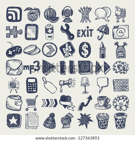 49 hand drawing doodle icon set, raster version - stock photo