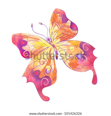 Hand drawn butterfly isolated on white background - stock photo