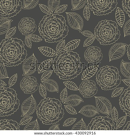 hand drawn floral seamless pattern. Design for fabric, textile. Hand drawn colorful background with flower