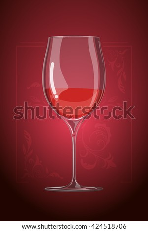 hand drawn illustration in cartoon style. wine glass. menu template. Decorative organic ornament on background - stock photo