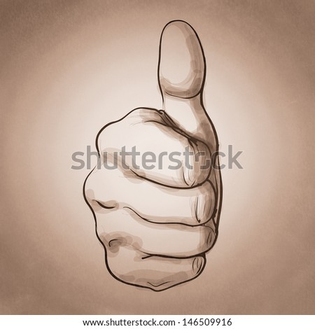 hand giving a thumbs up as vintage style concept - stock photo