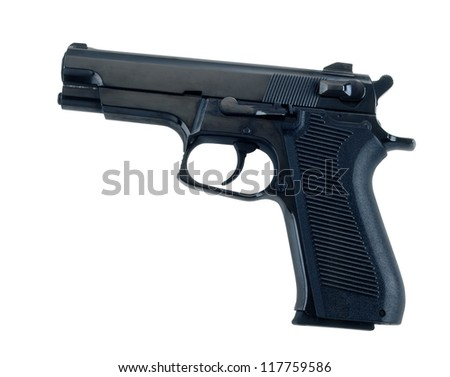 hand gun on white background.