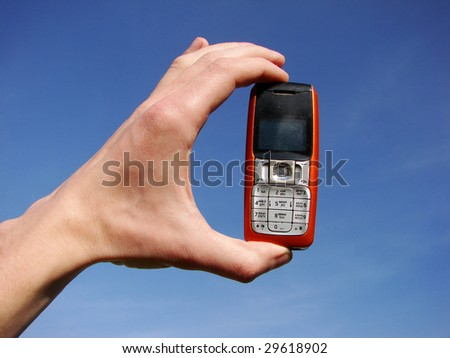 hand holding a mobile phone
