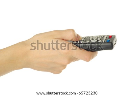 hand holding a remote control isolated over a white background - stock photo