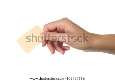 hand holding blank paper - stock photo
