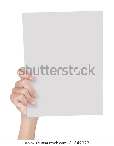 hand holding blank paper isolated on white background 3
