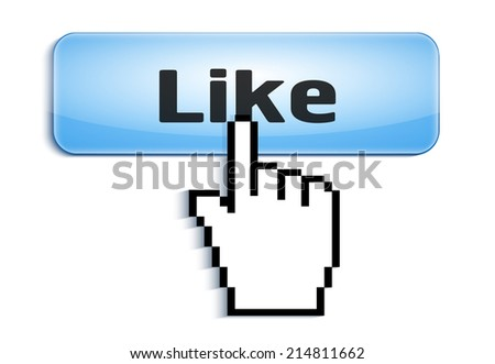 hand link selection computer mouse cursor pressing  glossy button with Like text isolated on white background - stock photo