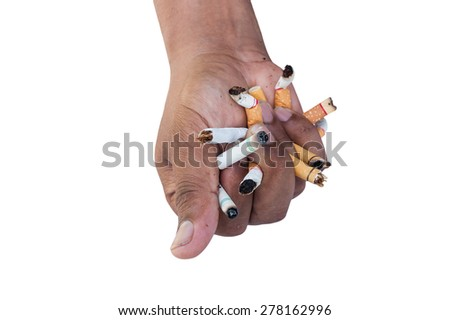 Hand Man Crushing Cigarettes Concept No Smoking Isolated On White