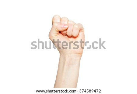 hand on white background