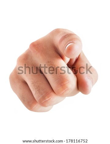 Hand pointing at you on white background - stock photo