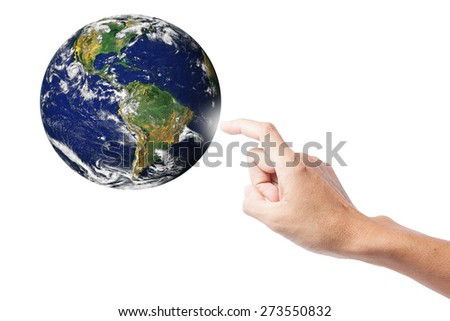 hand pointing on Earth planet,photo of Earth from NASA