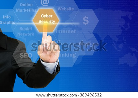 hand pressing cyber security  button on interface with world map  background.business concept - stock photo