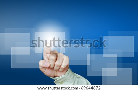 hand pushing the button  concept - stock photo