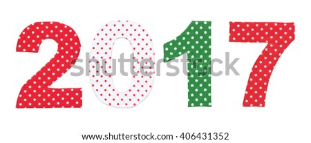 Handmade New Year 2017 numbers. - stock photo