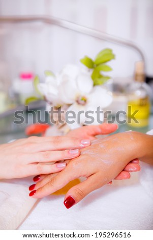 hands. hand care. beauty salon. Beauty and Health - stock photo