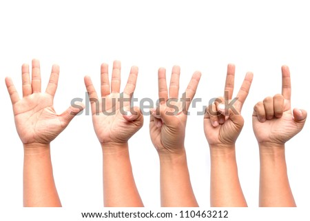 1 2 3 4 5 hands isolated on white background. - stock photo