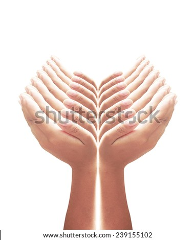 14 hands protecting something. - stock photo