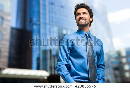 Handsome businessman portrait outdoor  - stock photo