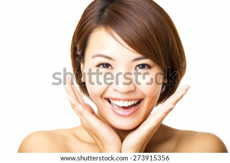 happy and beautiful young woman face - stock photo
