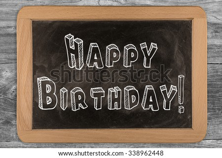 Happy Birthday Chalkboard With Outlined Text