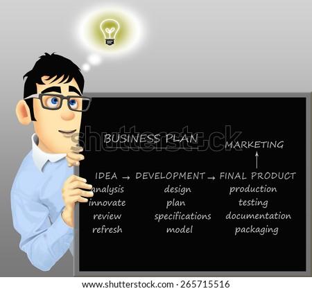 Happy businessman has a business idea - stock photo