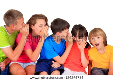 Happy children whispering - stock photo