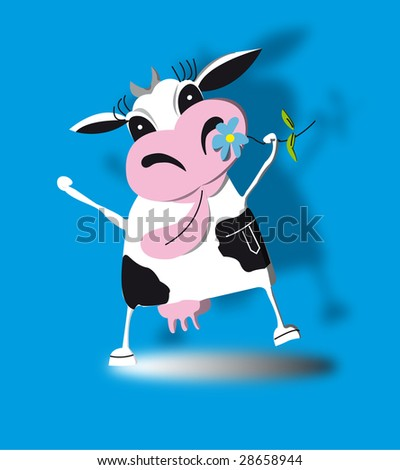 happy cow with a flower - stock photo