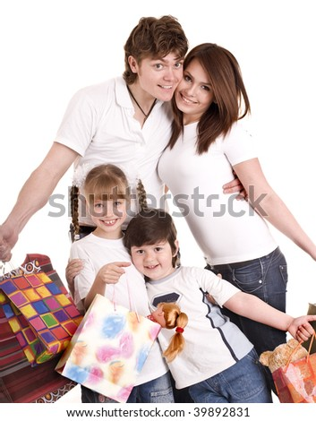 Happy family and child shopping. Isolated. - stock photo