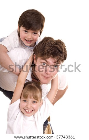 Happy family father and two children. Isolated.