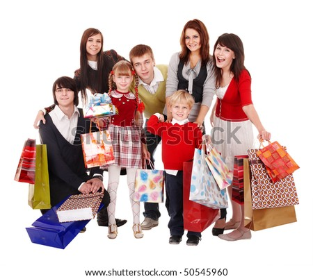 Happy family with children and shopping bag. Isolated.
