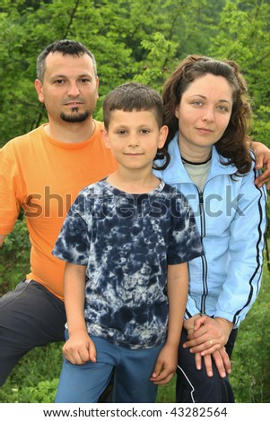 Happy Family with son together - stock photo