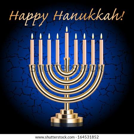 """Happy Hanukkah!"" blue wish card with Hanukkah Menorah - stock photo"