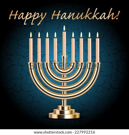 """Happy Hanukkah!"" turquoise wish card with Hanukkah Menorah - stock photo"